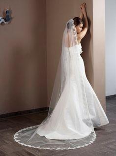Brautschleier mit Spitze 280cm 1-stufig