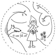 In the Little Red Riding Hood embroidery pattern, Red Riding Hood is enjoying her walk in the woods, unaware that the wolf is closely following behind her.