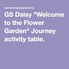 """GS Daisy """"Welcome to the Flower Garden"""" Journey activity table."""