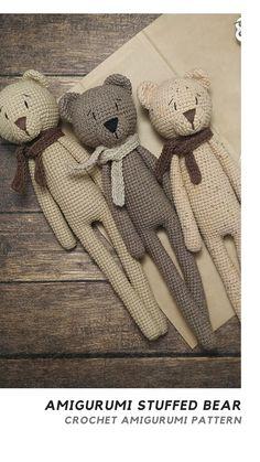 Teddy Bear PATTERN crochet animals for scandinavian nursery. Amigurumi easy bear pattern montessori baby toys for mountain nursery Crochet Teddy Bear Pattern, Crochet Mouse, Crochet Bunny, Crochet Animals, Animal Knitting Patterns, Crochet Patterns Amigurumi, Knitting Projects, Crochet Projects, Montessori Baby Toys