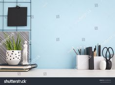 Find Office Creative Desk Supplies Blue Wall stock images in HD and millions of other royalty-free stock photos, illustrations and vectors in the Shutterstock collection. Desk Supplies, Blue Walls, New Room, New Pictures, Royalty Free Photos, Photo Editing, Shelves, Creative, Image