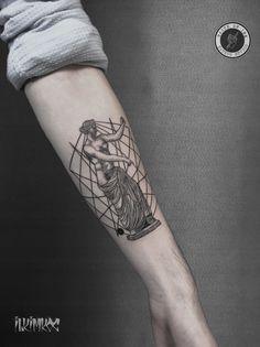 Sculpture Tattoo #sculpture #tattoo #blackwork #linework #geometric