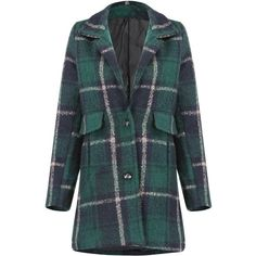 Yoins Check Duster Coat-Green  M/L (€44) ❤ liked on Polyvore featuring outerwear, coats, yoins, jackets, coats & jackets, green, trench coats, trench coat, duster trench coat and green trench coat