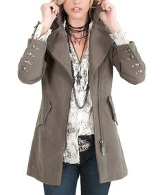 Take a look at this Cino Army Brown Zip-Up Military Coat on zulily today!