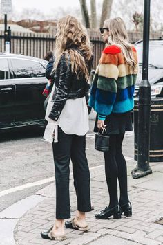 streetstyle winter: fake fur and biker jackets. bloggee. bloggerstyle
