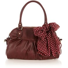 OASIS Triple Compartment Bag ($37) ❤ liked on Polyvore featuring bags, handbags, purses, bolsas, red, faux leather handbags, vegan purses, hand bags, handbags purses and polka dot handbag