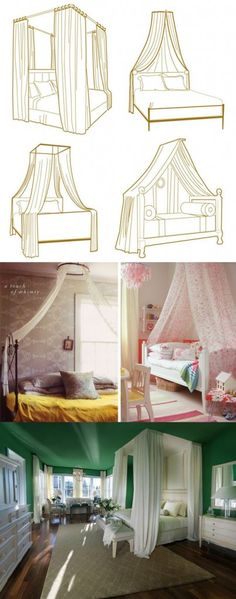 i never think about putting my bed in front of a window... always seems a bit awkward... but I like how this canopy frames the walls and ...