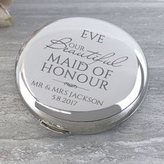 Our beautiful Maid of honour round compact mirror. Wedding Thank You Gifts, Bride Gifts, Hen Party Gifts, Bride Sister, Flower Girl Gifts, Wedding Keepsakes, Compact Mirror, Personalized Wedding Gifts, Mother Gifts