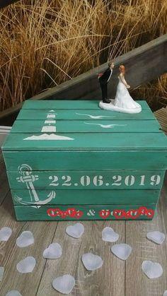 Geldgeschenk Geschenkbox Brautpaar Leuchtturm Truhe Hochzeit Urlaub