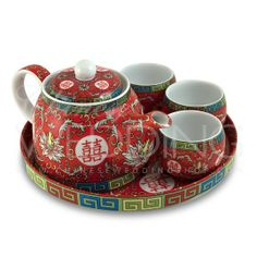 Chinese Wedding Tea Pot & Cups
