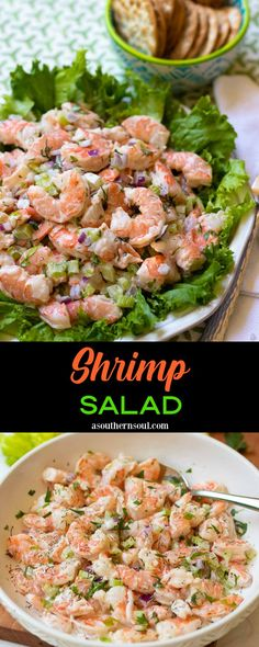 Shrimp Salad is light, cool, and loaded with freshness. This classic recipe is updated with a creamy, lemony dressing to bring out the best flavors of tender juicy shrimp, celery, and red onion. Add in fresh herbs and you've got a salad masterpiece! Best Salad Recipes, Side Recipes, Vegan Recipes Easy, Easy Dinner Recipes, Keto Recipes, Protein Recipes, Light Recipes, Amazing Recipes, Diabetic Recipes