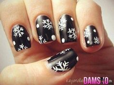 Let It Snow On Your Nails 20 Snowflake Nail Arts | See more nail designs at http://www.nailsss.com/...  | See more nail designs at http://www.nailsss.com/nail-styles-2014/