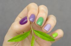 5 Nubar nail polishes: Pyramid Purple, Romance, Green Tea, Lavender, Chartreuse