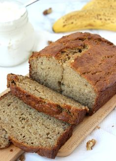 banana bread Try this homemade banana bread recipe that uses Greek yogurt to create more of a moist end result with an added boost of protein. Ive messed with this recipe about four diffe Greek Yogurt Banana Bread, Protein Banana Bread, Banana Bread French Toast, Zucchini Banana Bread, Greek Yogurt Muffins, Homemade Banana Bread, Banana Bread Muffins, Healthy Banana Bread, Greek Yogurt Cake