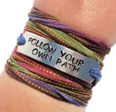 Excited to share this item from my #etsy shop: Follow Your Own Path Silk Wrap Bracelet Spiritual Words Inspirational Jewelry With Meaning Motivational Quote by Bohemian Earth Designs Hippie Jewelry, Yoga Jewelry, Silk Wrap Bracelets, Spiritual Words, Ribbon Jewelry, Earth Design, Unique Jewelry, Jewelry Ideas, Silk Ribbon