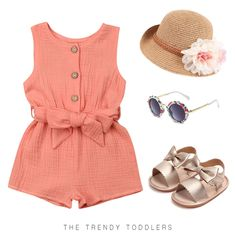 Your baby girl will look just like princess in this sweet outfit, complete with a coral sleeveless romper, golden sandals, floral hat and sunglasses Baby Outfits, Little Girl Outfits, Little Girl Fashion, Kids Outfits, Toddler Girl Style, Toddler Girl Outfits, Toddler Fashion, Kids Fashion, Toddler Girls