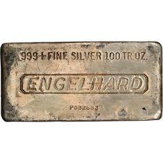 100 oz. Silver Bar - Engelhard (Poured) .999 Fine