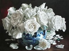 Yin Yong Chun, A Pot of White Roses Oil on Linen, 43 x 32 inches