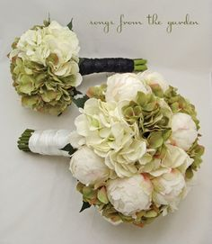 wedding flower package bridal bouquet white silk peonies hydrangea songsfromthegarden wedding on artfire