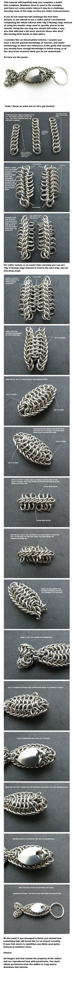 Here is a step by step guide to my fish key chain design. Rings used are SWG standard. It is a tutorial for intermediate maillers as it assumes some weave knowledge to accomplish. If you are a begi...