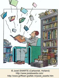 flying books cartoon © Joost SWARTE (Cartoonist. Holland).  A man in a library opens a book and is surprised as ten more books come flying out of it! We all know how one book leads to another...  and another ... and another...   Shop:   http://www.griffioen-grafiek.nl/joost_swarte.htm