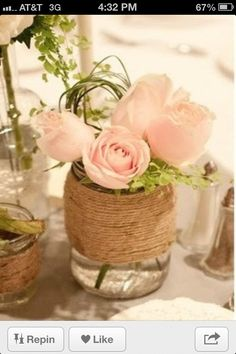 twine wrapped mason jar with pale pink roses