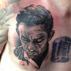My own Johnny cash tattoo, by Che Crook, White Dragon, Belfast. Johnny Cash Tattoo, Johnny Depp Tattoos, Johnny Tillotson, Charles Wright, Big Tattoo Planet, B Tattoo, White Dragon, Tattoo Designs Men