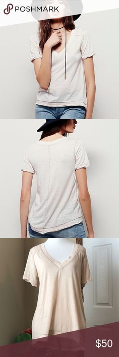 NWT We The Free (Free People) Pearls tee NWT. Perfect tee! Purchased for $58. Almond color. Sold out everywhere! Free People Tops Tees - Short Sleeve