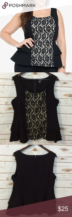 Torrid lace front double peplum black blouse 1X Torrid GUC black with lace insert peplum top. torrid Tops Blouses