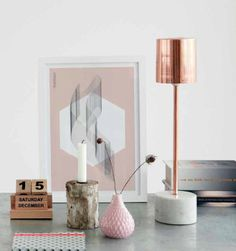 Copper and Marble Table Lamp Copper and Marble Table Lamp House Doctor Copper And Pink, Copper And Marble, Rose Gold Marble, Copper Blush, Copper Rose, Mini Copper, Scandi Living, Home Living, Living Room