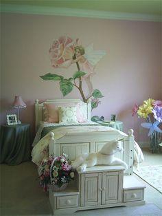 Sweet and innocent:  flower fairy rose mural for girls room