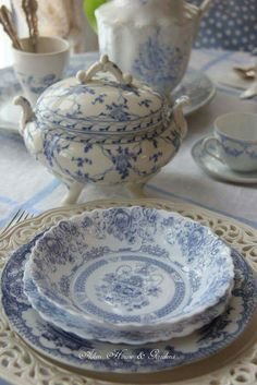 English blue and white plates, for dinner at Rose cottages and gardens