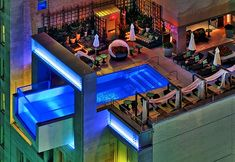 Rooftop swimming pool at Hotel Joule in Dallas Texas.