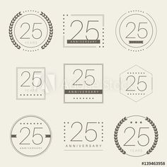 Twenty five years anniversary logotype. 25th anniversary logo set.