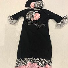 Newborn Girl Coming Home Outfit Newborn Girl Gown Go Home   Etsy Girls Coming Home Outfit, Take Home Outfit, Peach Flowers, Satin Flowers, Gifts For Newborn Girl, Gowns For Girls, Lace Headbands, Cotton Fabric, Chiffon