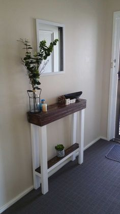 Entrance table decor entry hallway table garden home hallway decorating foyer decorating and entry tables entrance . Pallet Entry Table, Entrance Table Decor, Entryway Decor, Table Decorations, Apartment Entryway, Pallet Tables, Entryway Ideas, House Entrance, Entrance Ideas