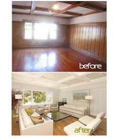 B. B.: painted wood paneling, before/after
