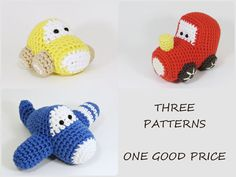 You will get all three simple and fun vehicle patterns with one good price. Patterns are easy to follow and have many pictures. These patterns are written in US English.  You can read more about every pattern separately: https://www.etsy.com/shop/ByMarika?section_id=7962015  *********************  Buyers are saying:  * Adorable pattern. Very easy directions to follow and works up very quickly!  * Cool pattern highly recommend