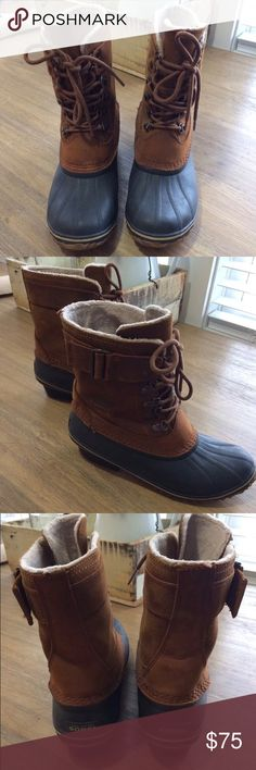 Sorel Winter Fancy II Lace Up Boot Excellent condition. Bought last winter for $159, barely worn. Elk color. Warm fuzzy lining and cute but stable little heel. Great traction. Size 9 women's Sorel Shoes Winter & Rain Boots