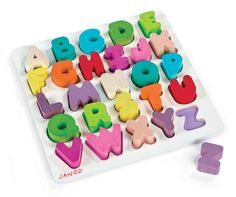 Learn your ABC's with our bold, chunky Wood Alphabet Puzzle. Each of the twenty-six letters fits into a color-coded cut out on the puzzle board. Your little one