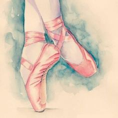 Water colour ballet shoes. The blue in the background frames it beautifully. I wish I could do ballet as well as this.