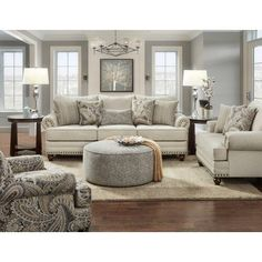 2820 Cary's Doe Traditional Sofa with Nailhead Trim by Fusion Furniture at Great American Home Store 4 Piece Living Room Set, Living Room Sets, Living Room Designs, Living Room Furniture Sets, Living Area, Front Room Furniture Ideas, Bedroom Sets, Coastal Living Rooms, Living Room Grey
