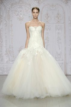 """Monique Lhuillier Fall 2015 Bridal Collection   """"Anouk"""" -- BEAUTIFUL, Strapless, Drop Waist Bridal Ball Gown, With Pretty, Sweetheart Lace Neckkine, Corset Bodice, & Lace Appliquéd Silk Tulle Ball Gown Skirt"""