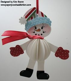 Punch Art 3-D Snowman ornament
