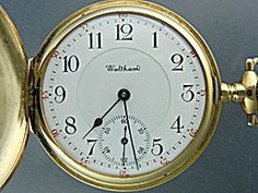Gold Waltham Pocket Watch 20 Jewels Kw & Co Old Pocket Watches, Vintage Pocket Watch, Grandfather Clock, Antique Clocks, Jewels, Chain, Antiques, Gold, Accessories