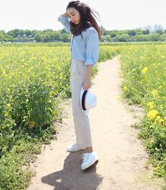Bask in the sun in style in Daily About spring pants! Be, Asian Fashion, Chic, Spring, Fitness, Pants, Style, Shabby Chic, Trouser Pants