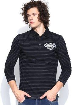 Dream of Glory inc. Striped Men's Polo Neck T-Shirt - Buy Black, Grey Dream of Glory inc. Striped Men's Polo Neck T-Shirt Online at Best Prices in India | Flipkart.com