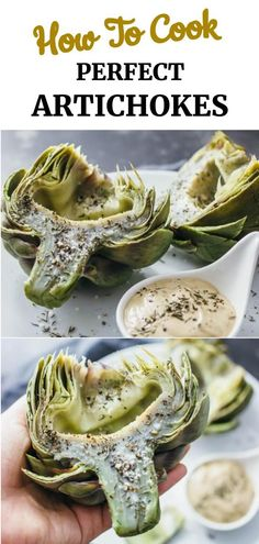 Here's the perfect foolproof recipe on how to cook artichokes! These artichokes are boiled so that you get a tender artichoke heart (doesn't get dry! Roasted Artichoke Recipe, Artichoke Heart Recipes, Roasted Artichokes, Artichoke Recipes Boiled, How To Cook Artichokes, Recipes With Artichokes, Best Artichoke Recipe, Baked Artichoke Hearts Recipe, Cooking Artichokes