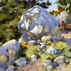 """Mike Kowalski on Instagram: """"I am missing the mountain trails that this painting is based on. This large boulder probably hasn't moved much in the intervening years!…"""""""
