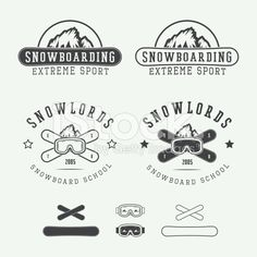 Vintage snowboarding logos, badges, emblems and design elements. royalty-free stock vector art